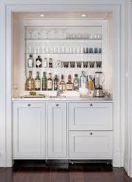 wet bar nook with glass shelves