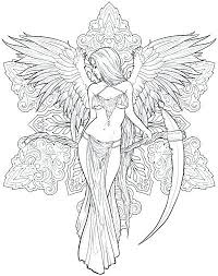 Nice Looking Fantasy Coloring Pages For Adults Angel Free Best