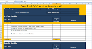 Quality Control Excel Template Download Qc Check List Template Xls Free Excel