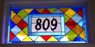 custom made colorful stained glass transom window panel contemporary diamonds 2 am