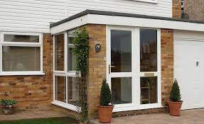 flat roof porch in white upvc