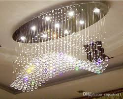 luxury led 6 9 light crystal wave chandelier curtain modern chandeliers crystal lamp living room chandeliers lamp hotel droplighting light outdoor