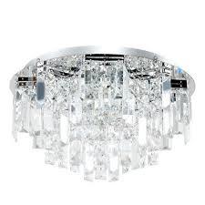 premium chrome genuine glass crystal 5 way flush ceiling light chandelier new