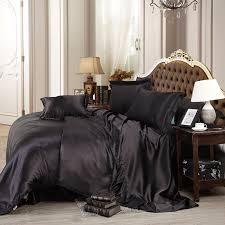 100 pure satin silk bedding set queen size bed sheet sets bedclothes solid duvet cover set sheet