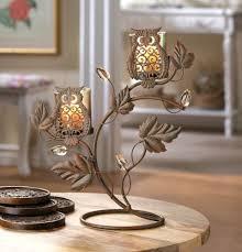 Metal Candle Holder Designs Wise Owl Duo Votive Stand Candleholder Metal Vine And Leaf Design