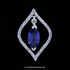 dangling marquise sapphire diamond pendant w marquise style bezel in 10k white gold