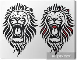 Obraz Izolované Tribal Lev Tetování Na Plátně