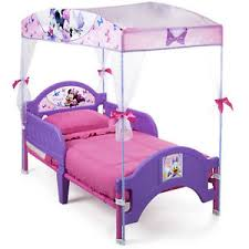 Details about Girls Toddler Bed with Canopy Minnie Mouse Pink Purple Bedroom Furniture