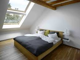 Bedroom:Futuristic Small Attic Bedroom Ideas With Wooden Floating Beds And  Dark Grey Bed Cover