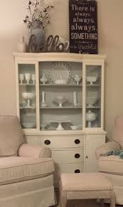 China cabinet redo Ben Moore chalk paint -color white dove and inside color  is Ben