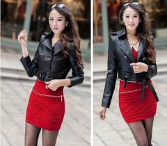 women pu leather jacket can split long or short style sashes faux leather trench coat