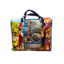 paw patrol 5pc bedding set twin bed in a bag with bonus tote walking the dogs com