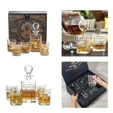 engraved whiskey decanter set elegant 5 piece glass whiskey decanter set with square engraved rocks glasses