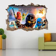 Lego Bedroom Wallpaper Lego Ninjago Smashed Wall 3d Decal Removable Graphic Wall Sticker
