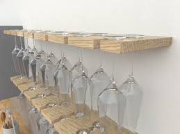 double depth wine glass rack wall mounted wine rack oiled oak glass rack right angled shot high