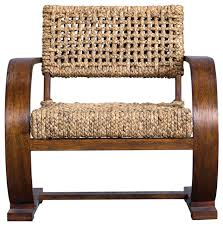 open wood frame boho midcentury accent chair woven seat c shape curved retro tropical armchairs and accent chairs by my sy home