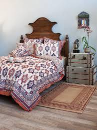 samarkand kilim tribal motifs blue orange king duvet cover