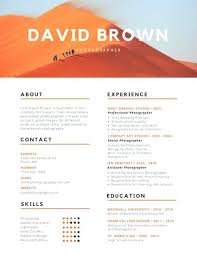 Photography Resume Templates Amazing Orange And Black Colorful Photography Resume A Use This Template