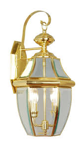 livex lighting 2251 02 monterey 2 light outdoor polished brass finish solid brass wall lantern with clear beveled glass wall porch lights com