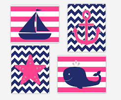 canvas prints for baby room. Baby Girls Canvas Nursery Wall Art Navy Blue Hot Pink Whale Anchor Sailboat Starfish Nautical Prints For Room L