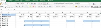 Calendrier Excel