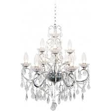vela 9 light bathroom chandelier in polished chrome with glass detail