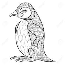 Coloring Pages With King Penguin Zentangle Illustartion For