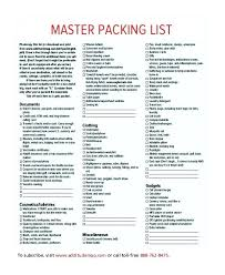 Travel Packing Checklist Template International List Indemo Co