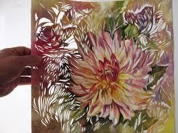 saatchi art artist alfred ng painting dahlia watercolor paper cut art