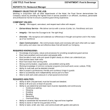 Line Cook Job Description Sample Resume Country Club Server With