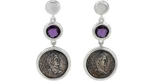 1884 collection legacy vivace silver coin amethyst triple drop earrings in metallic lyst