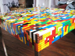 Lego Furniture Glass Top Dining Table With Lego Parts Offers Unique Furniture