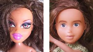 bratz doll before and after before has bright pink thick lips purple eyeshadow