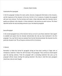 character outline templates word pdf format character sketch outline