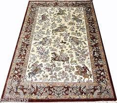 hunting scene pure silk masterpiece persian rug 5x7 feet brown cream