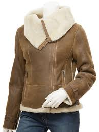 womens sheepskin leather jacket in tan cove