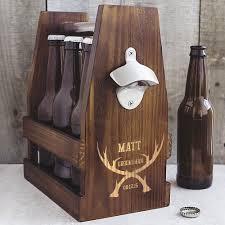 groomsman antlers personalized rustic wood 6 pack beer bottle carrier