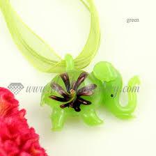 luminous elephant lampwork murano glass necklaces pendants jewelry green