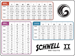Size Chart Yamamoto Neoprene Surfing Wetsuits
