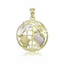 14k solid yellow white gold globe