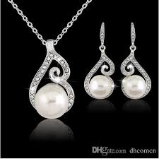2019 diamond pearl necklace set crystal pearl diamond pendant necklace earring jewelry set 925 silver chain necklace jewelry from dhcn 2 12 dhgate