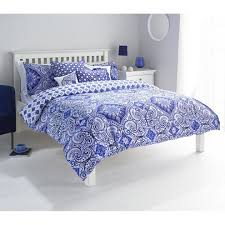 riva paoletti ionia double duvet cover set indigo blue and white bohemian moroccan inspired pattern 2 x housewife pillowcase polycotton on