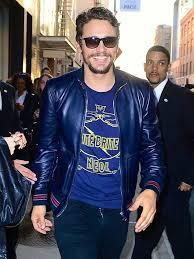 mandarin collar slim fit mens blue leather jacket