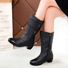 fashion las knee high winter boots soft leather boots woman black zip warm women thigh high