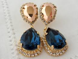 rose gold navy blue swarovski crystal rhinestone chandelier bridal wedding dangle drop earrings