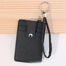 pu leather credit card holder with lanyard for bank card bus card id holder black