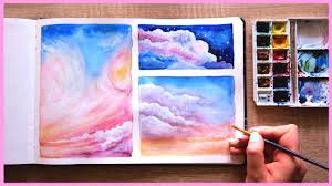 how to paint cotton candy clouds with watercolors for beginners art journal thursday ep 17