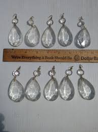 lot of 10 clear teardrop facet cut chandelier parts prisms glass crystals