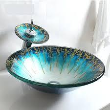 glass sink bowls bathroom toughened washbasin podium big round cap art wash basin tempered uk