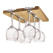 bar wine glass holder hanger stemware rack under cabinet storage natural wood